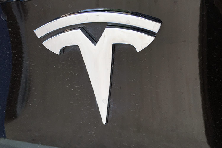 Silver Tesla Motors logo emblem on black finish